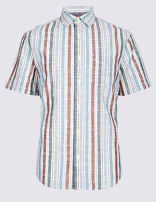 Marks and Spencer Pure Cotton Striped Shirt with Pocket