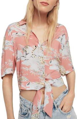 AllSaints Leni Borneo Crop Shirt