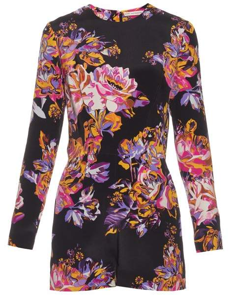 Abstract poppy-print silk-crepe playsuit
