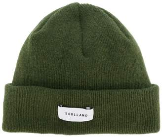 Soulland ribbed logo beanie