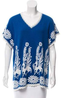 Barrie Intarsia Patterned Cashmere Top