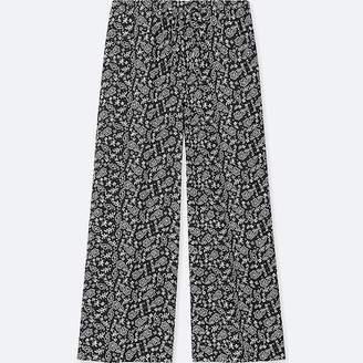 Uniqlo Women's Floral-print Drape Wide Pants
