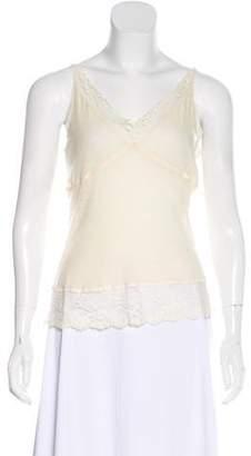 Balenciaga Lace-Trimmed Sleeveless Top