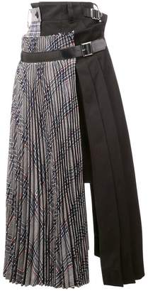 Sacai pleated wrap around midi skirt