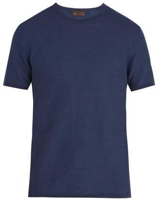 Altea Linen And Cotton Knit T Shirt - Mens - Navy