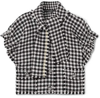 Dolce & Gabbana Cropped Frayed Houndstooth Wool-blend Tweed Top - Black