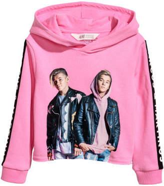 H&M Short Printed Hooded Top - Pink