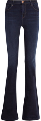 J Brand - Maria High-rise Flared Jeans - Dark denim $250 thestylecure.com