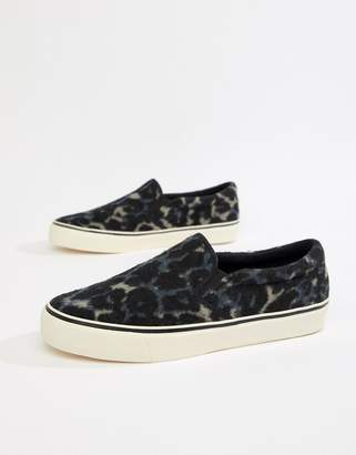 bf16054a450f Asos Design DESIGN slip on plimsolls in faux leopard