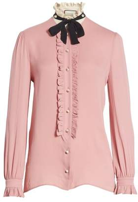 Gucci Tie Neck Ruffle Detail Silk Blouse
