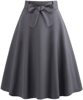 Shein 50s Belted Flare Skirt