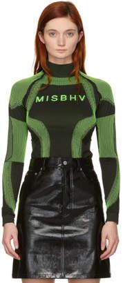Misbhv SSENSE Exclusive Black and Green Logo Active Turtleneck
