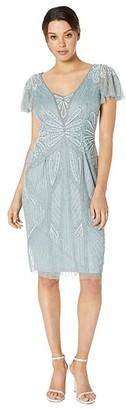 Adrianna Papell Embellished V-Neck Flutter Sleeve Cocktail Dress