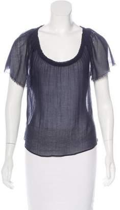 Miu Miu Frayed Short Sleeve Top