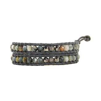 Chan Luu Double Wrap Silver Bracelet Choker in Cat's Eye and Leather