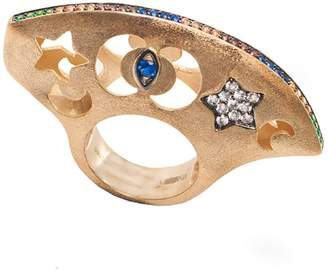 AMMANII - Hand Carved Dome Ring In Vermeil Gold