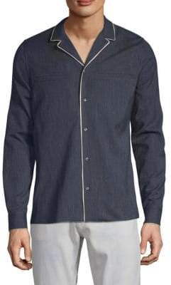 Valentino Notch Collar Wool Shirt