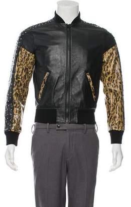 Saint Laurent 2016 Embellished Leather Bomber Jacket