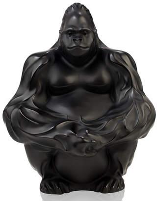 Lalique Crystal Gorilla Sculpture/Figurine, Black