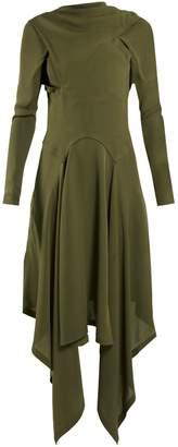 J.W.Anderson Draped asymmetric high-neck silk dress