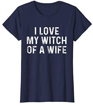 Womens I Love My Witch Of A Wife | Funny Halloween Couples Shirt XL