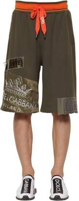 Dolce & Gabbana Jersey Shorts W/ Logo Crown Patch