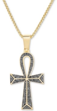 "Macy's Men's Black Diamond (1/4 ct. t.w.) Ankh 22"" Pendant Necklace in Sterling Silver, 14k Gold-Plated Sterling Silver & Rhodium-Plated Sterling Silver"