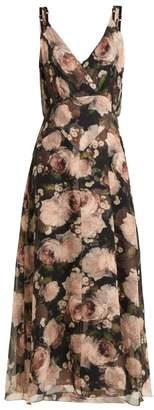 Erdem Orabella Dutch Petal Print Silk Voile Dress - Womens - Black Pink