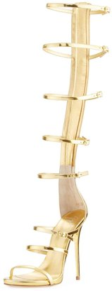 Giuseppe Zanotti Metallic Gladiator Knee-High Sandal, Gold $899 thestylecure.com