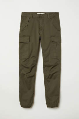 H&M Cotton Twill Cargo Joggers - Green