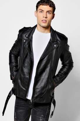 boohoo Black Real Leather Biker Jacket