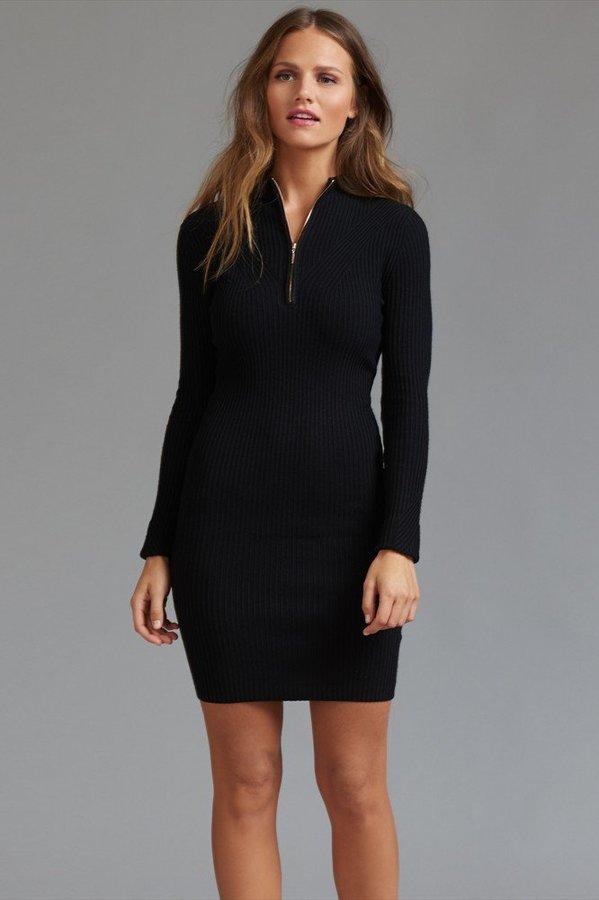 Ribbed Mock Neck Zip Bodycon Dress