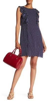 Donna Morgan Sleeveless Ruffle Polka Dot Shift Dress $138 thestylecure.com