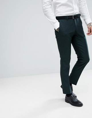 Selected Skinny Suit Pants In Forest Green