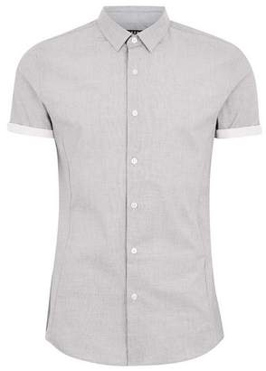 Topman Mens Grey Stretch Short Sleeve Shirt