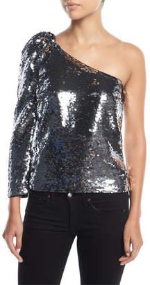 Veronica Beard Lantana One-Shoulder Sequin Top