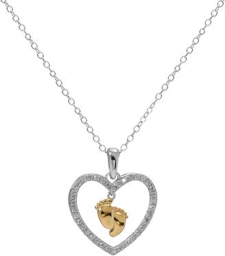 Hallmark Two Tone Sterling Silver Cubic Zirconia Baby Feet Heart Pendant