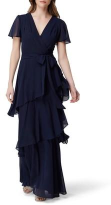 Tahari Futter Sleeve Tiered Chiffon Gown