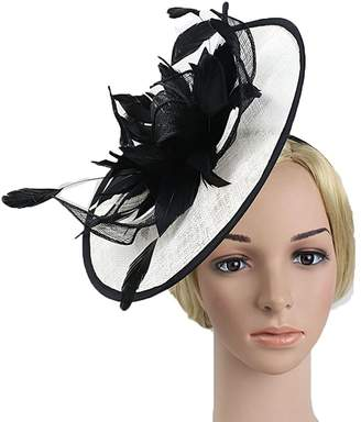 74cf7b5d256fd Susan1999 Vintage Black and White Boutique Headdress for Bridal Net Feather  Party Hat Sinamay for Woman