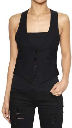 TheMogan Women's Dressy Casual Tuxedo Fully Lined Suit Vest Waistcoat Black L