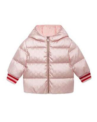 Gucci GG Reversible Hooded Puffer Coat, Size 12-36 Months