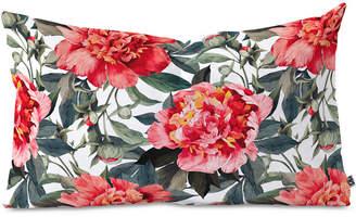 Deny Designs Marta Barragan Camarasa Big Red Watercolor Flowers Oblong Throw Pillow