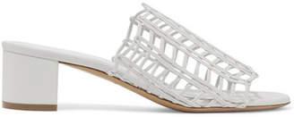 Mansur Gavriel Woven Leather Mules - White