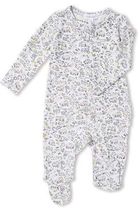Angel Dear Forest Owl-Print Zip-Front Footie Pajamas, Size 0-9 Months