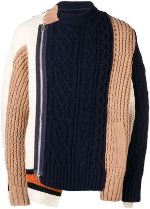 Sacai color-block knitted zip up jacket