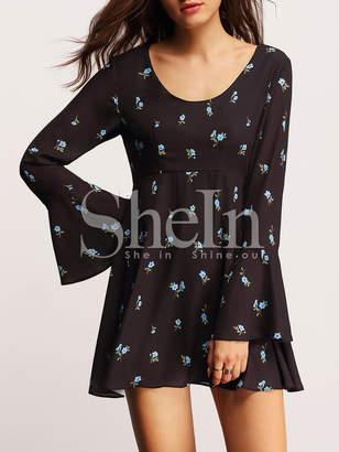 Shein Bell Sleeve Ruffle Trim Floral Dress