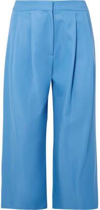 ADAM by Adam Lippes Cropped Pleated Wool-blend Gabardine Culottes - Blue