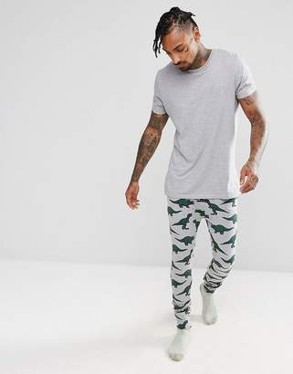 Asos DESIGN Pajama Bottoms With Branded Waistband & Dinosaur Print