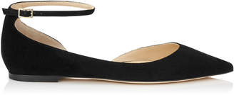 Jimmy Choo LUCY FLAT Black Suede Pointy Toe Flats