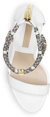 Michael Kors Fariha Snakeskin Open-Toe Platform Sandal